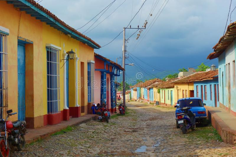 Colorful traditional houses in the colonial town of Trinidad in Cuba, a UNESCO World Heritage site royalty free stock photography