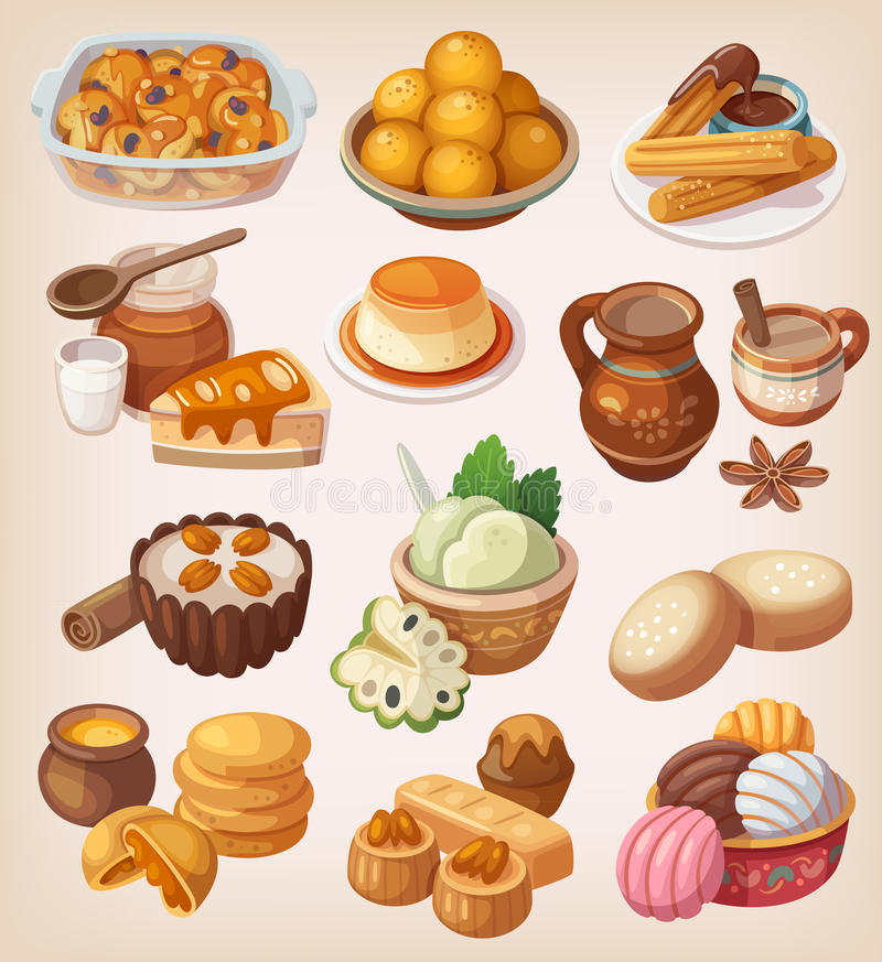 Colorful traditional mexican desserts royalty free illustration