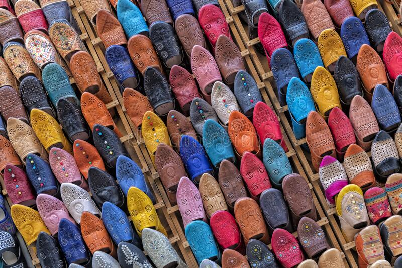 Colorful traditional Moroccan slippers babouche stock photo
