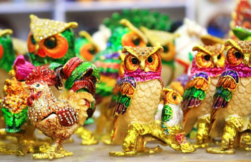 Turkish colorful owl birds figurines on display. Colorful traditional Owl birds figurines in ceramic shop in Uchisar town, Cappadocia Turkey royalty free stock images