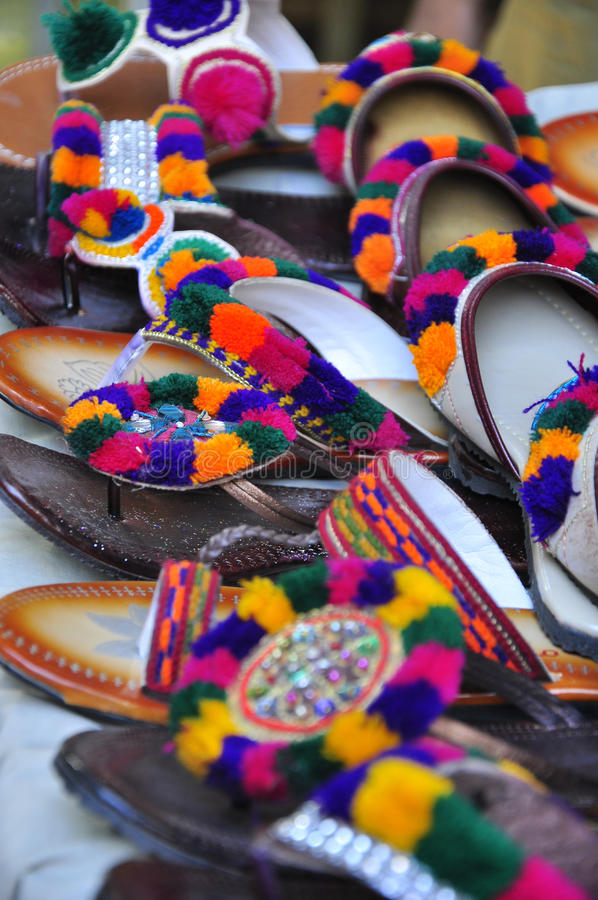 Colorful traditional pakistani shoes stock images