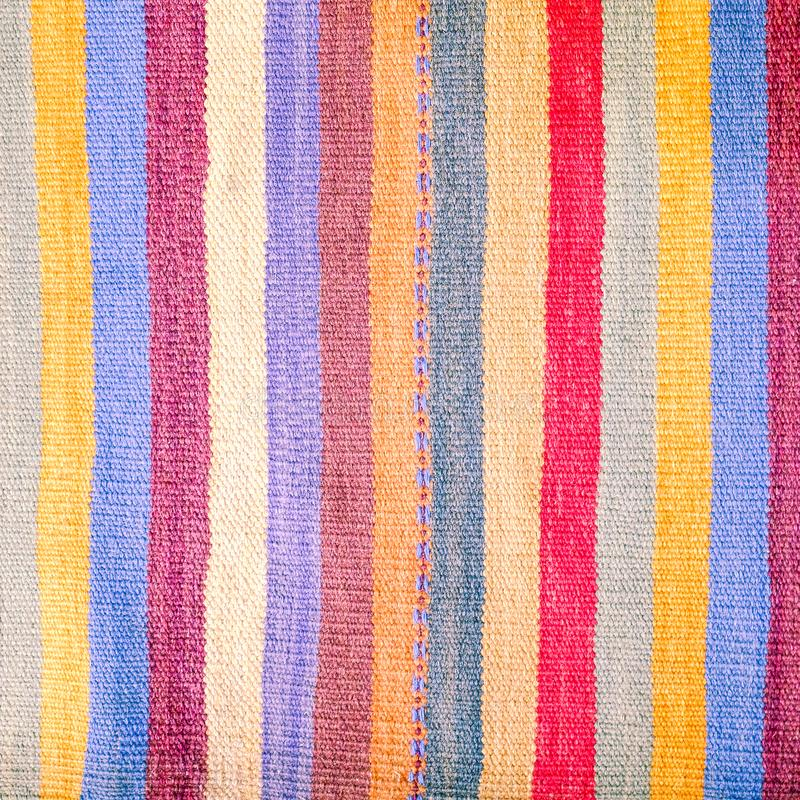 Colorful traditional Peruvian style, close-up rug surface. stock image