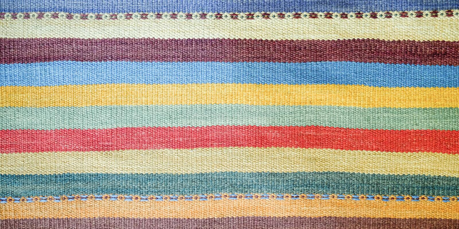 Colorful traditional Peruvian style, close-up rug surface. royalty free stock photo