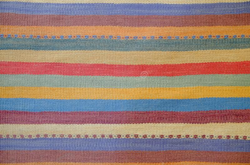 Colorful traditional Peruvian style, close-up rug surface. stock photos