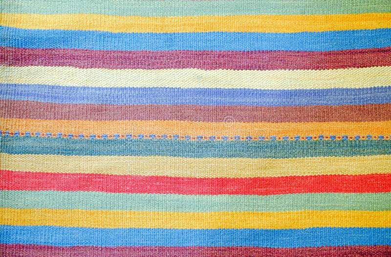 Colorful traditional Peruvian style, close-up rug surface. royalty free stock photography