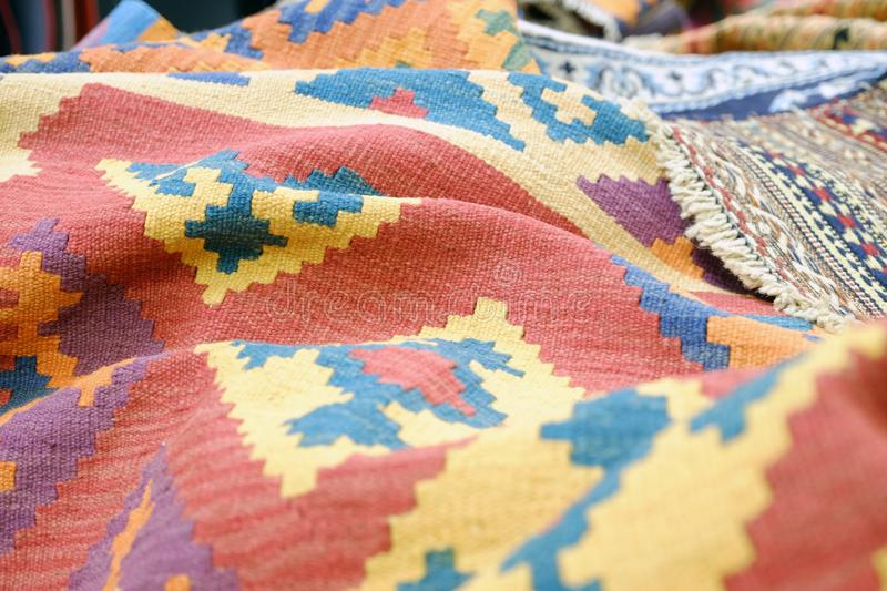 Colorful traditional Peruvian style, close-up rug surface royalty free stock photography