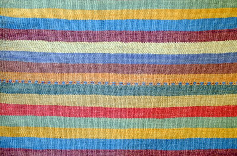 Colorful traditional Peruvian style, close-up rug surface. royalty free stock image