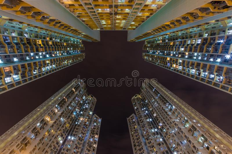 Colorful Traditional residential building at nigh from Hong Kong stock photos