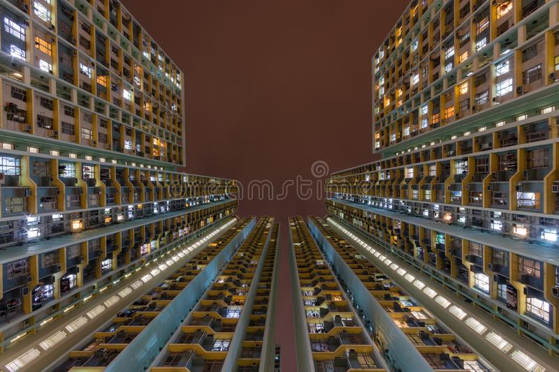 Colorful Traditional residential building at nigh from Hong Kong stock photography
