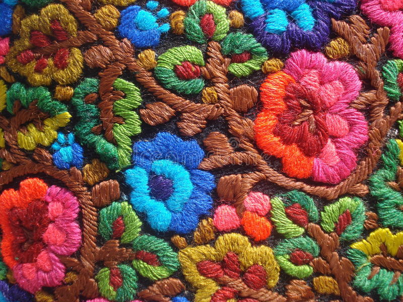 Colorful traditional romanian embroidery stock photos