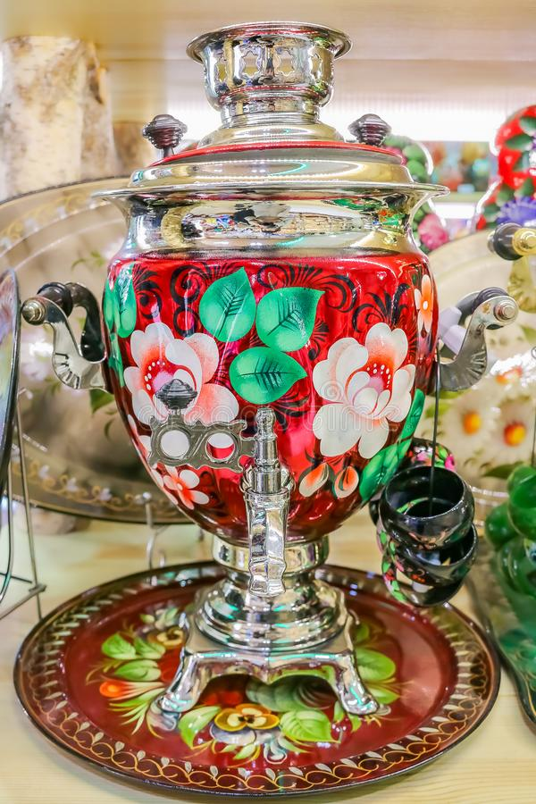 Colorful traditional Russian samovar teapot in a souvenir shop in Saint Petersburg Russia royalty free stock photos