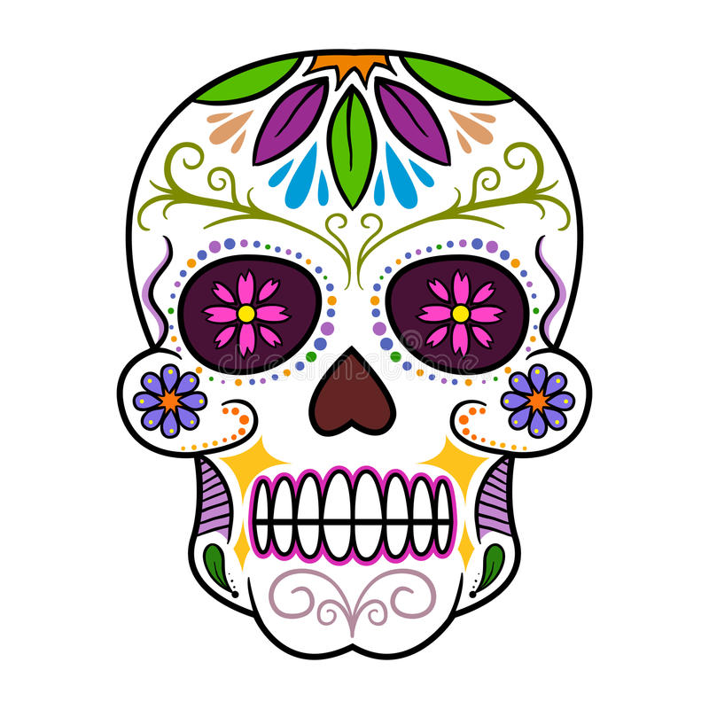 colorful traditional sugar skull stock vector