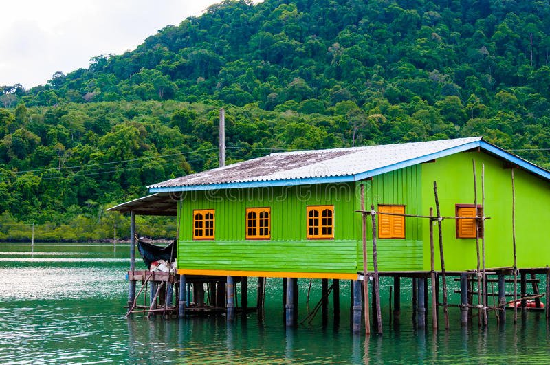 Colorful Traditional Thai house on stilts stock image