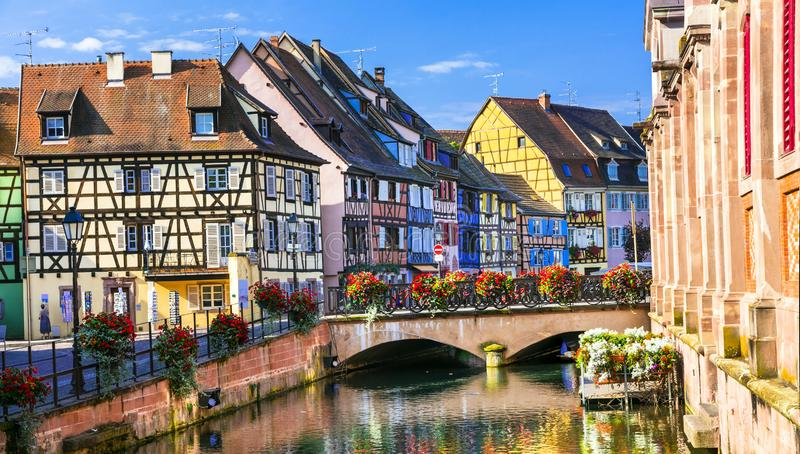 Colorful traditional town Colmar - tourist attraction in Alsace region, France royalty free stock photography