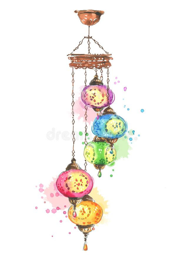 Colorful traditional turkish, asian lamp, watercolor illustration.  royalty free illustration