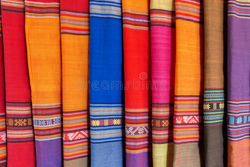 Colorful traditional Vietnamese textile, fabric royalty free stock photography