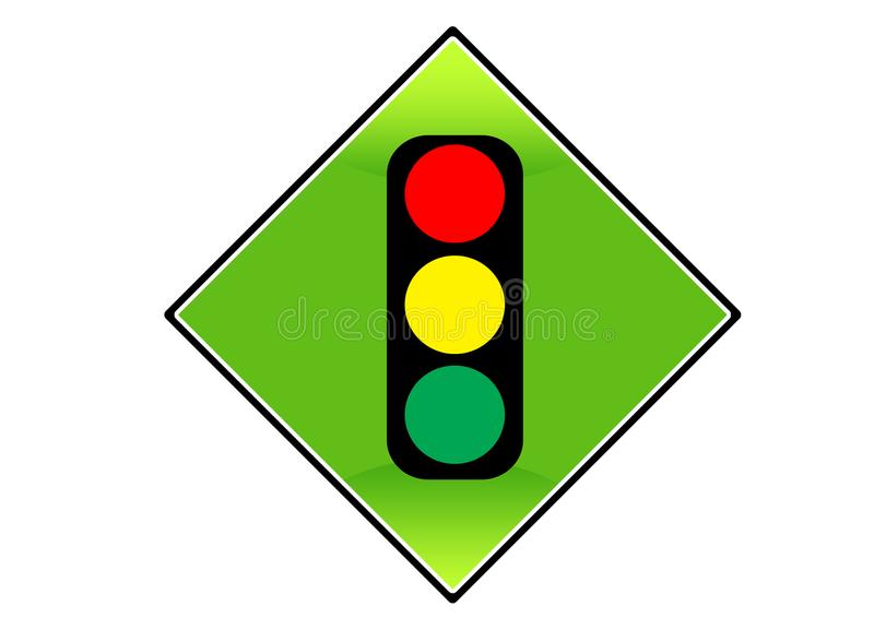 Colorful Traffic Light Signal Symbol And Vector Icon Isolated Stock