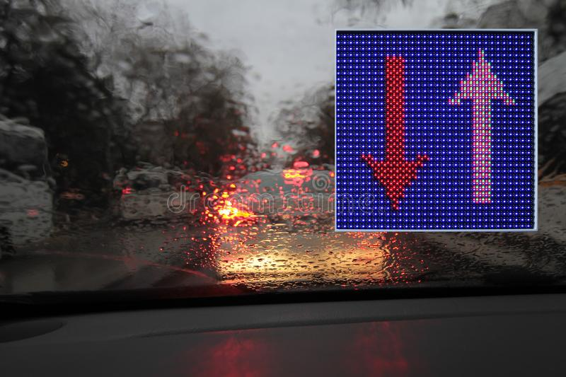 Colorful traffic warning and guidance signs made with LED lights. One way, don`t turn u, don`t turn left, don`t turn right stock photo