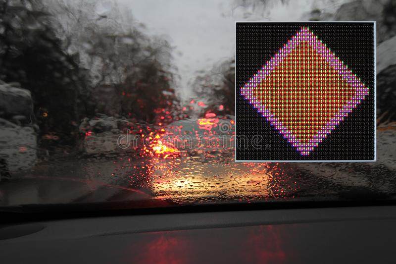 Colorful traffic warning and guidance signs made with LED lights. One way, don`t turn u, don`t turn left, don`t turn right stock photos