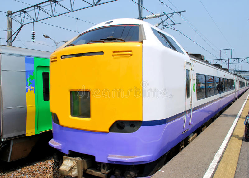 Colorful train in Japan royalty free stock images