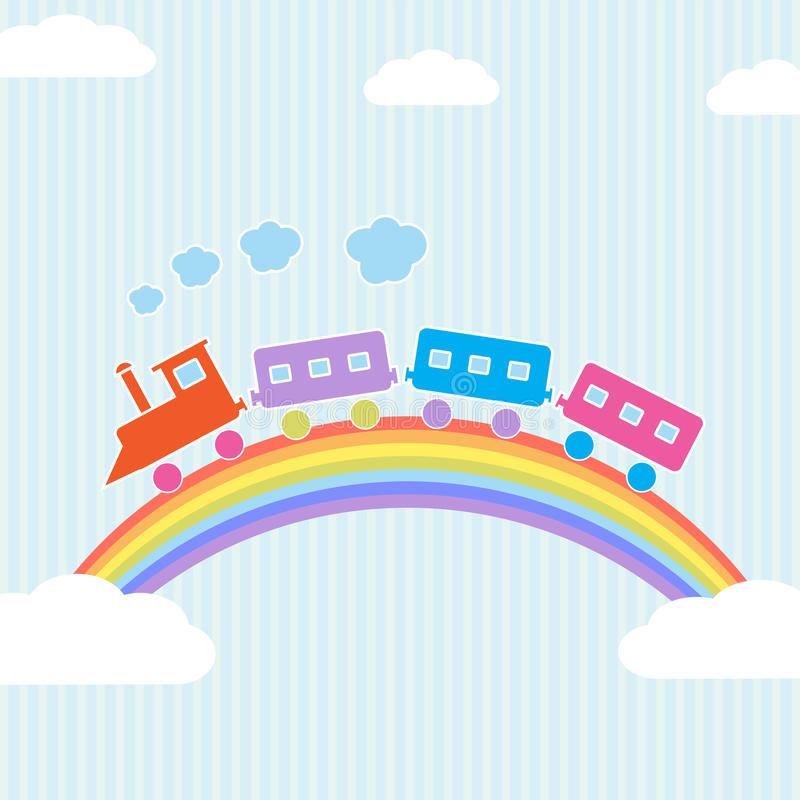 Download Colorful train on rainbow stock vector. Illustration of play - 25179428