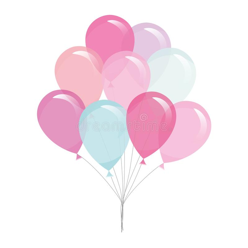 Colorful transparent balloons isolated on white. royalty free illustration
