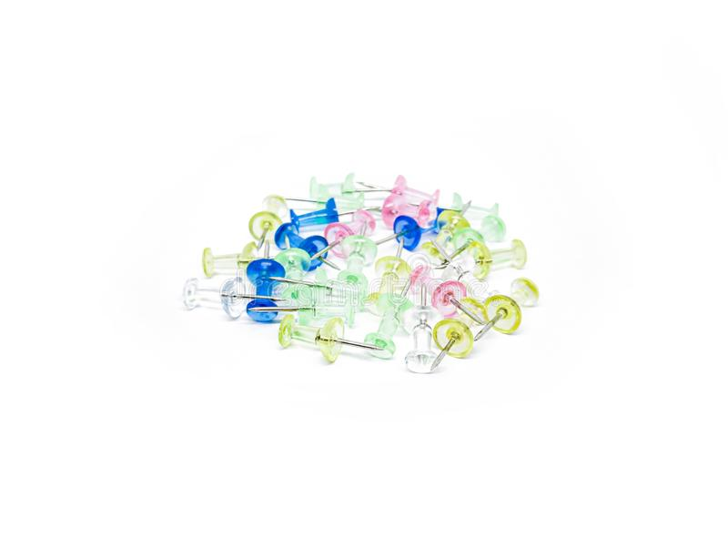 Colorful transparent push pins isolated on a white background royalty free stock photo