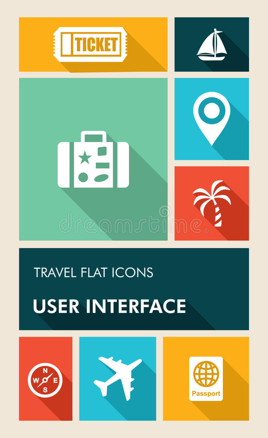 Colorful travel UI apps user interface flat icons. Travel mobile UI applications graphic user interface flat icons set. Vector layered for easy editing vector illustration