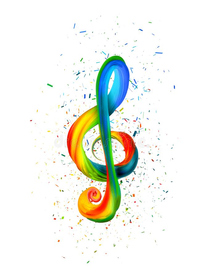 Colorful treble clef in the form of twisted paint on a white background stock illustration