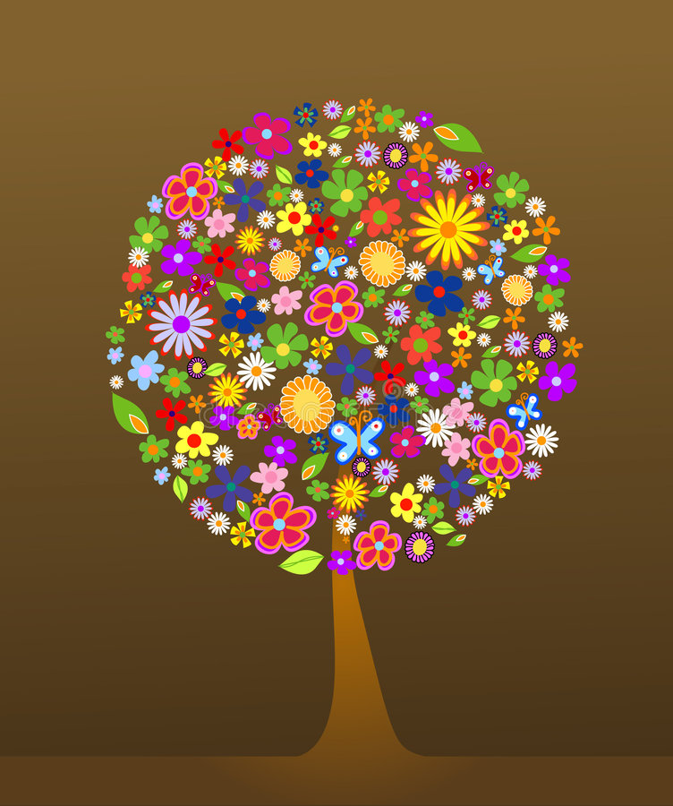 Colorful tree with flowers royalty free illustration