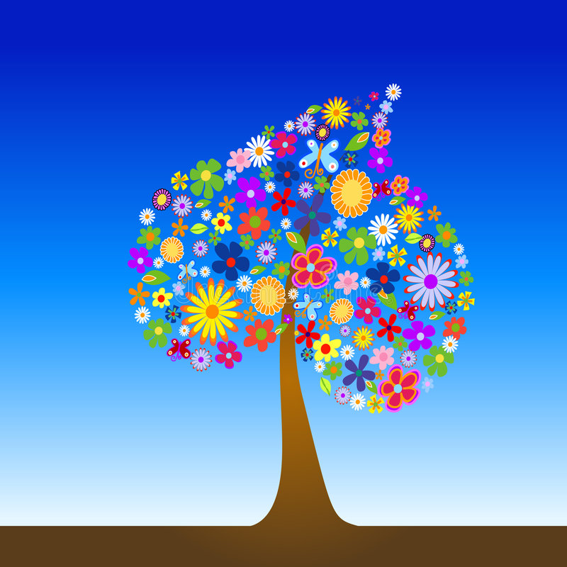 Colorful tree with flowers stock illustration