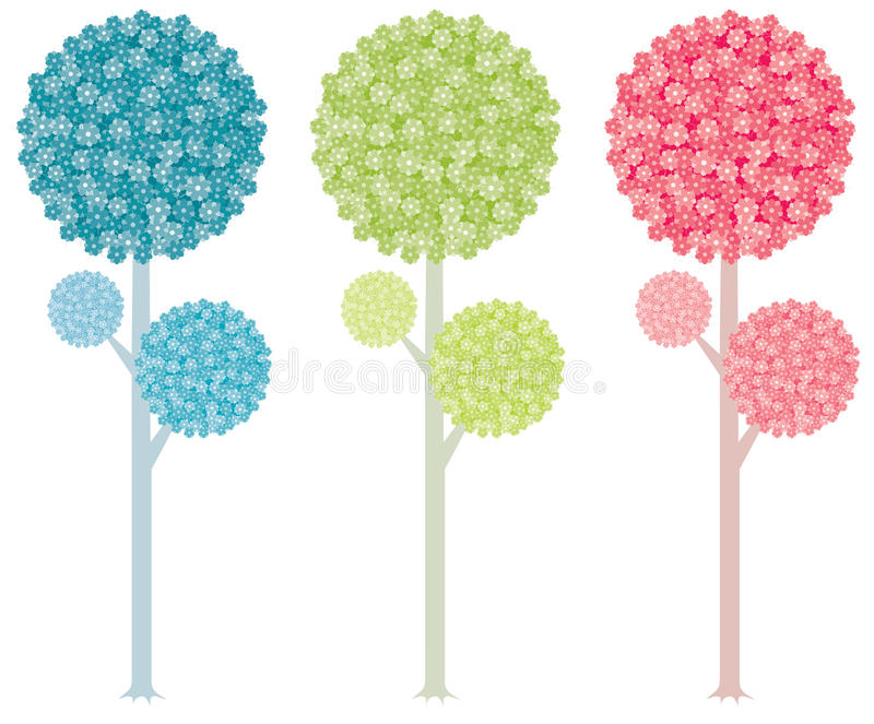 Colorful trees stock illustration