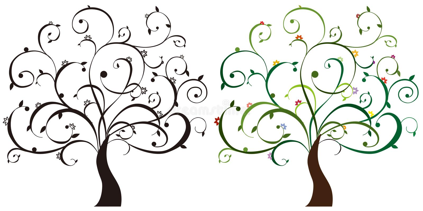 Download Colorful trees stock vector. Image of clip, botany, curve - 13921630