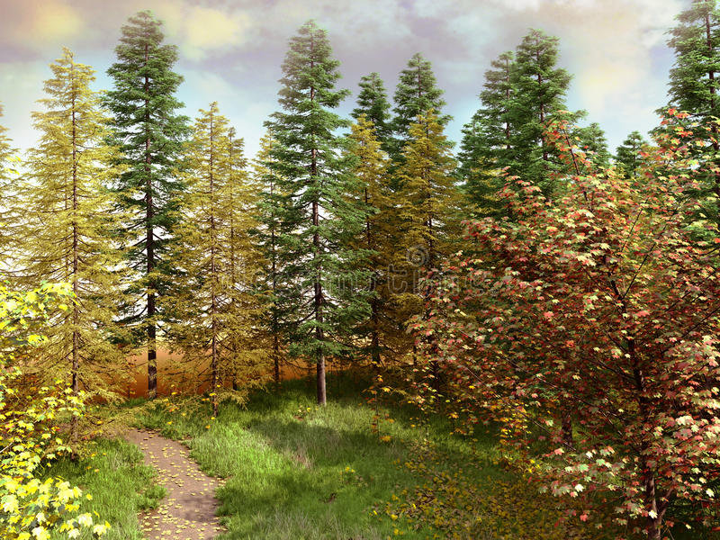 Download Colorful trees stock illustration. Image of path, illustration - 26554878