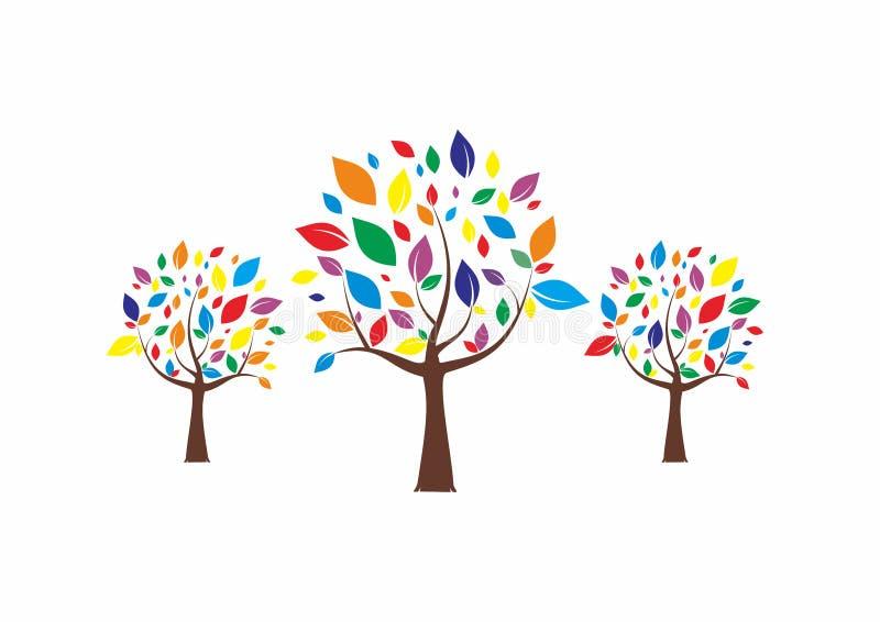 Colorful Trees Logo royalty free illustration
