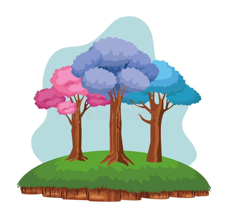 Colorful trees over a piece of ground. Leafy with purple, pink and blue leaves icon cartoon stock illustration