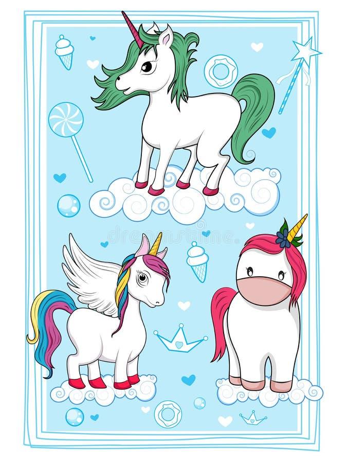 colorful trendy fairy tale unicorn invitation card