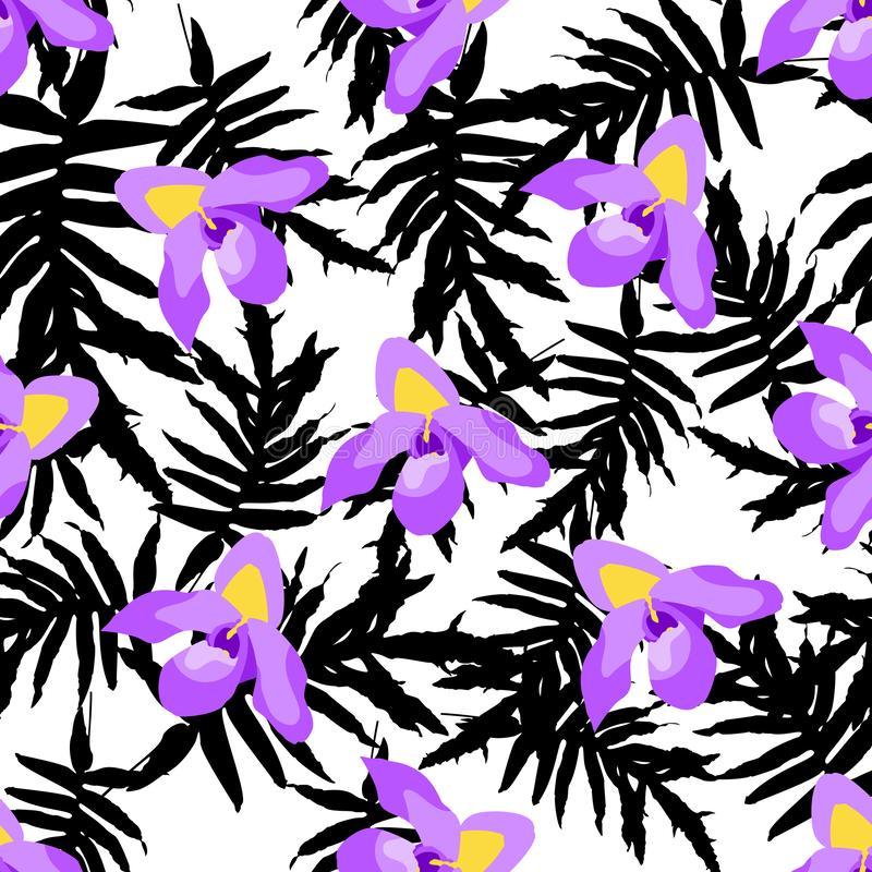 Colorful trendy seamless pattern with orchid flowers, tropical leaves vector illustration