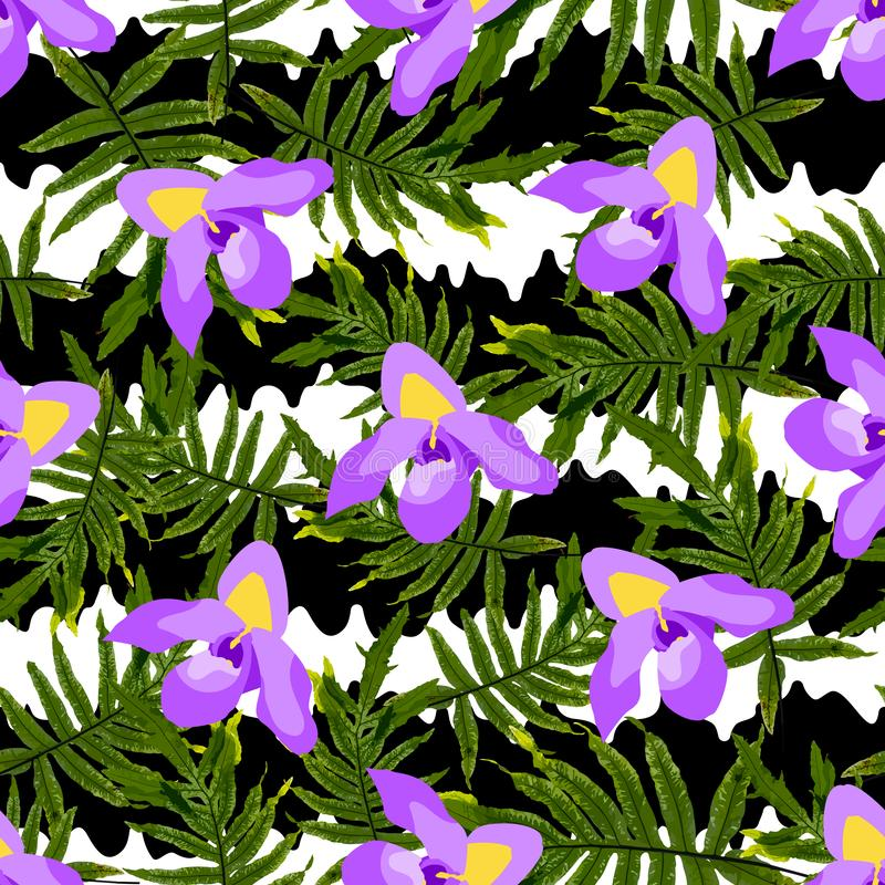 Colorful trendy seamless pattern with orchid flowers, white and black stripes, tropical leaves stock illustration