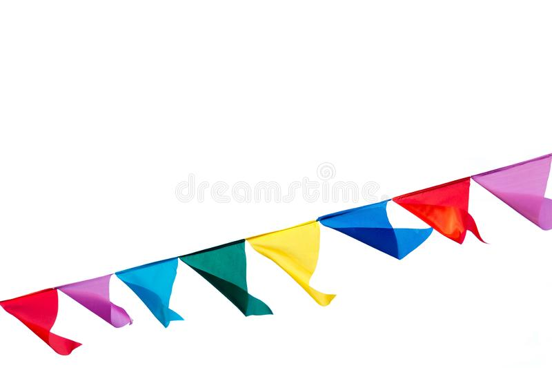 Colorful triangle bunting flags .  Design for party decorated  with copy space for text or festival concept royalty free stock image