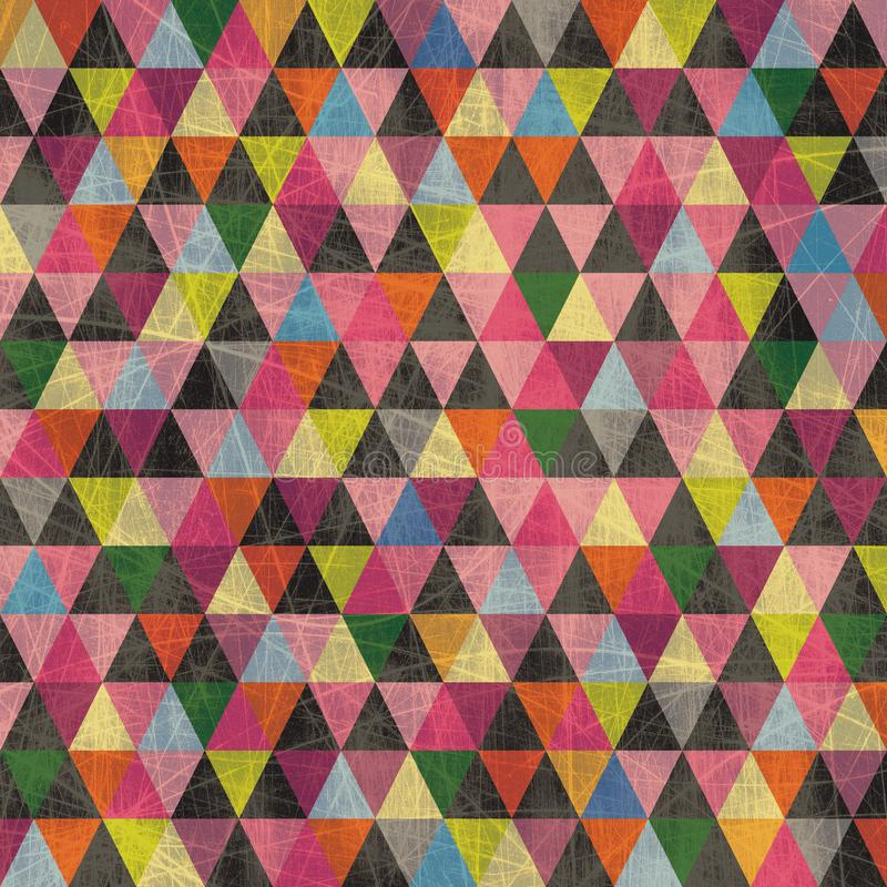 Colorful Triangle Pattern Background with Scratches stock illustration