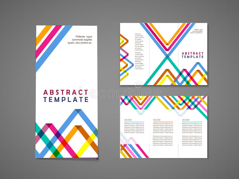 Colorful triangle pattern background tri fold brochure. Abstract colorful triangle pattern background tri fold brochure template vector illustration