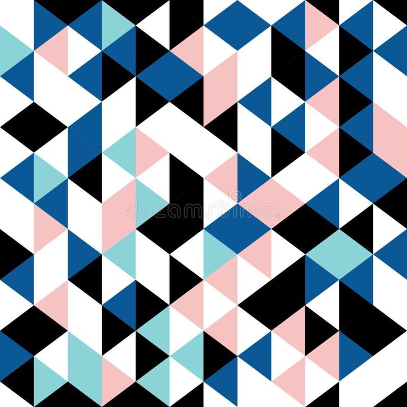 Triangle pattern seamless geometric retro design memphis 90s. Background trendy for fashion textile print. Colorful triangle pattern seamless geometric retro royalty free illustration