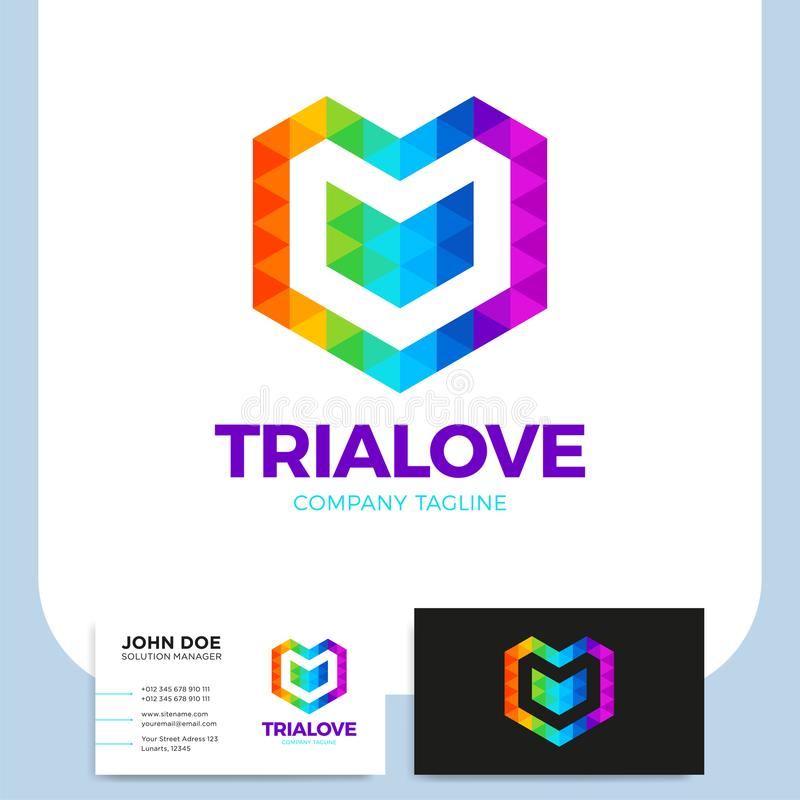 Abstract Triangle Letter V Heart Love Logo Icon Polygonal