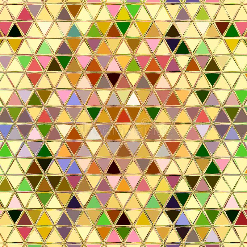 Colorful triangles mosaic continuous pattern for print or wallpaper royalty free illustration