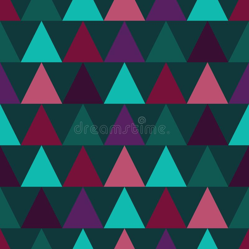 Vector Seamless colorful triangle pattern. Geometric abstract texture. Forest Green, pink and purple triangles stock illustration
