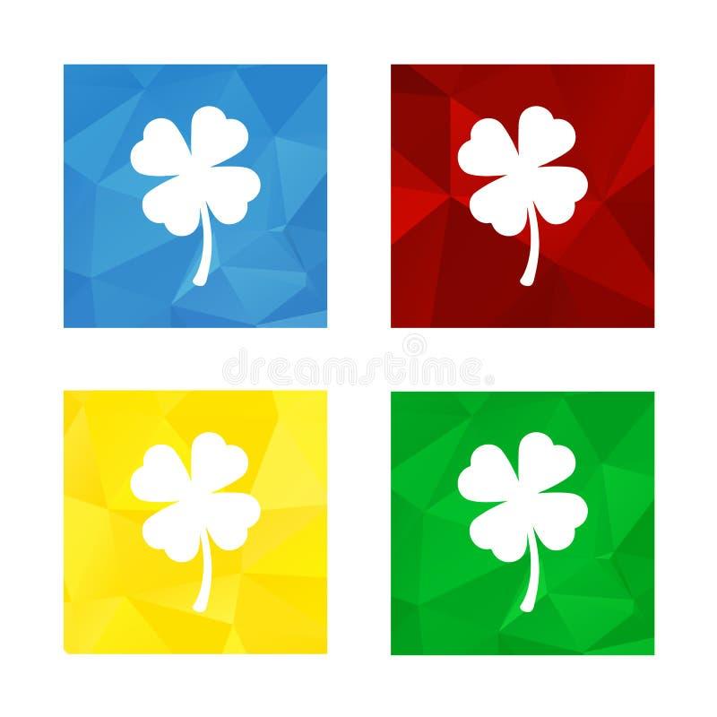 Low polygonal triagonal button with flat white icon for shamrock royalty free illustration