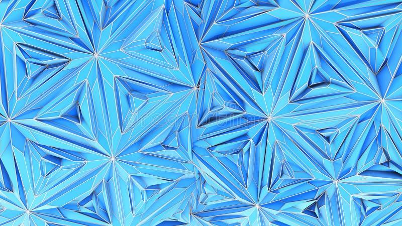 Colorful Triangulation Background, Deformed Surface, 3D Rendering stock illustration