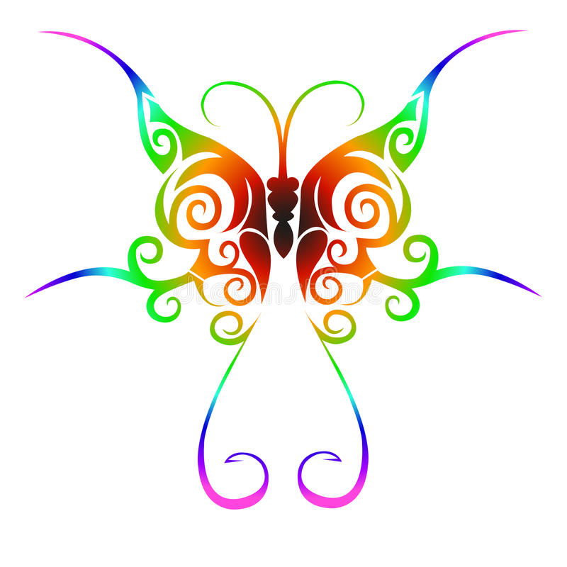 Colorful tribal butterfly tattoo vector illustration