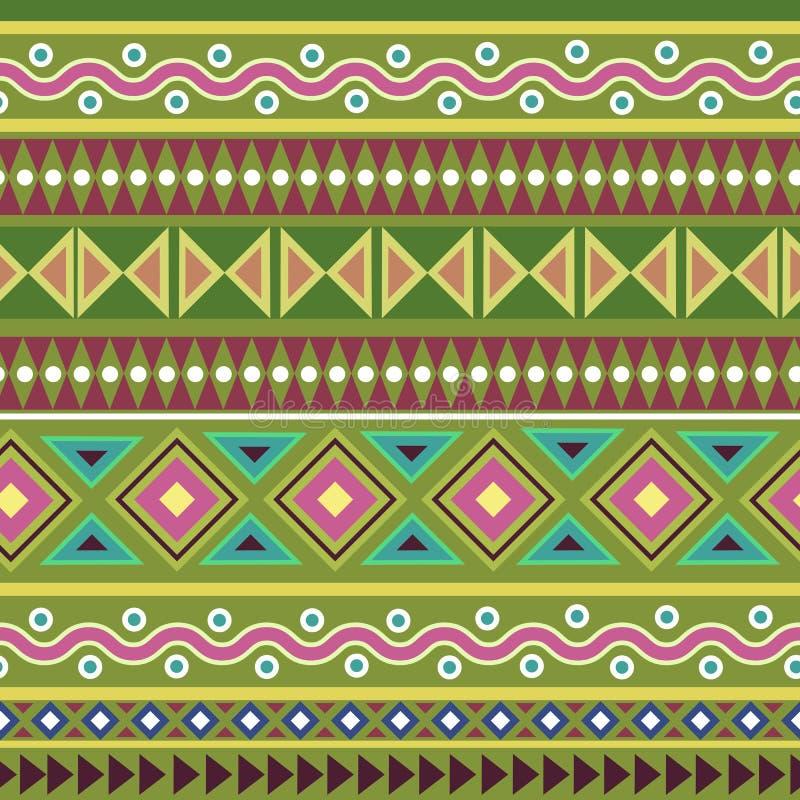 Colorful tribal geometric Aztec seamless pattern stock illustration